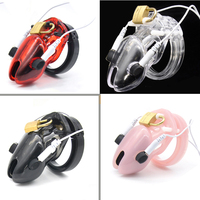 Men Chastity Lock short Cock Cage Male Electro Chastity Device+Power box Shock Men Penis lock Plastic Device Home ornament