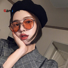 Samjune Fashion New 2018 Round Sunglasses Women Vintage Metal Frame Pink Yellow Lens Colorful Shade Sun Glasses UV400