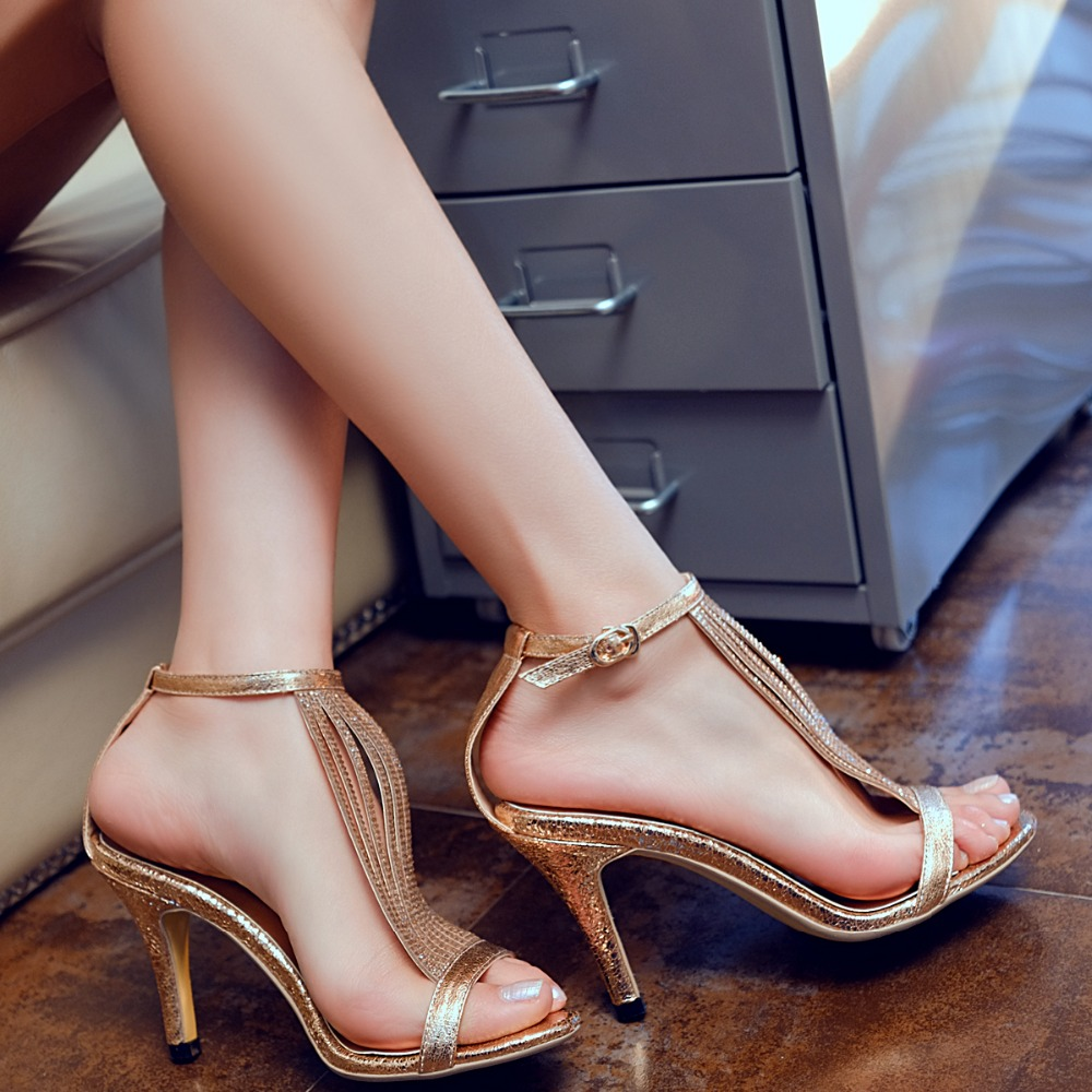 2018 New arrival Sexy Gold Silver Full grain leather Buckle strap Crystal women Sandals High heels Thin heels Party shoes woman