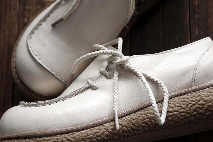 chocolat Cuir Chaussures Poupée Plates Confortable Automne Japon Dentelle Tête Art noir Main Beige Sen En Rétro Grosse 2018 xTCnqY87n
