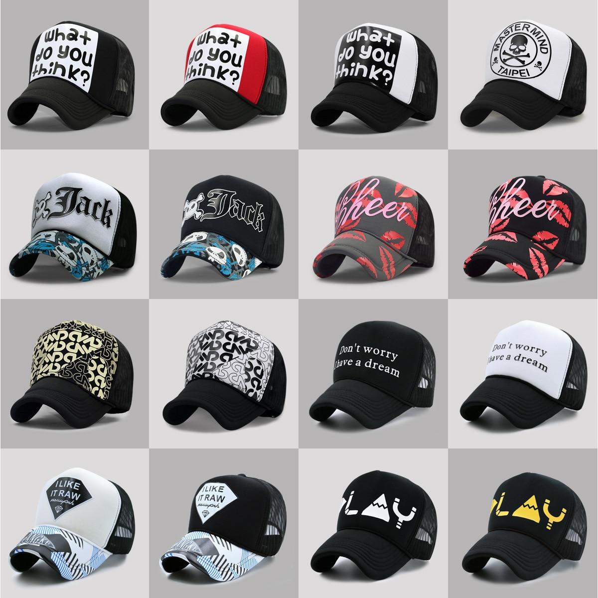 60 Colors Adult Summer Mesh Trucker Caps Men Hip hop Punk Rock Snapback Hat Women Curved Baseball Cap