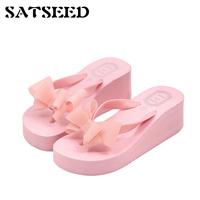 רגל גבוהה עניבת פרפר בסגנון קוריאני נעלי בית בסגנון קיץ כפכפים טריזי נשות נעלי העקב גבוהה החלקה תחתונה עבה