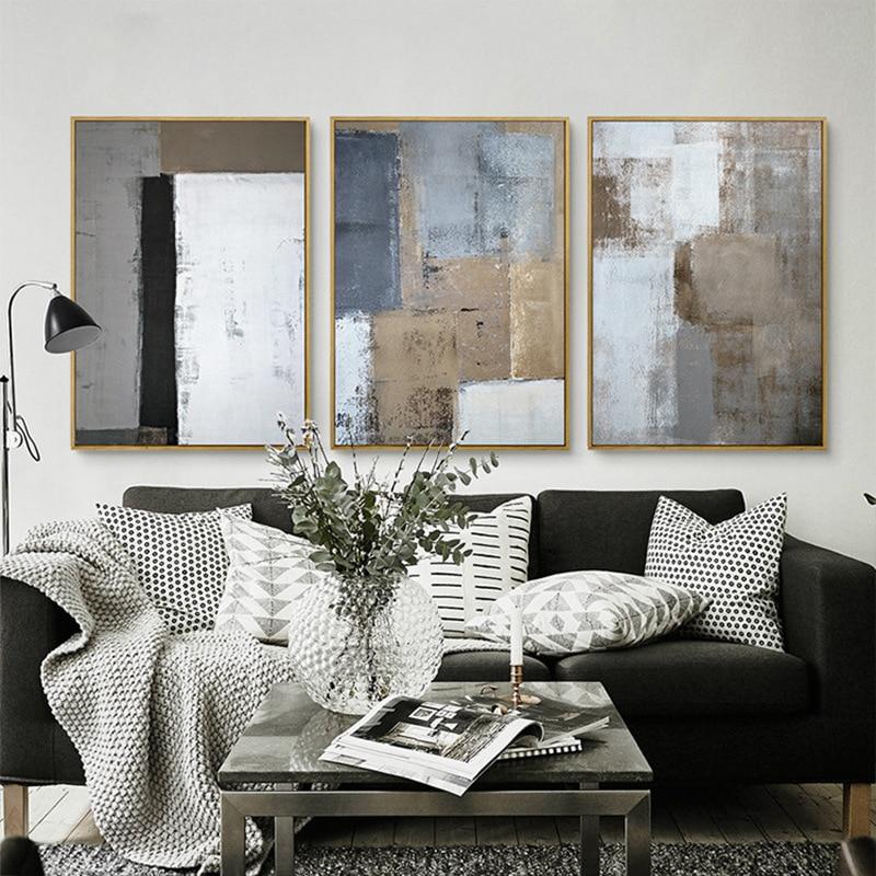 Nordic scandinavische decoratieve minimalistische abstracte licht kleur canvas schilderij kunst - Scandinavische kleur ...