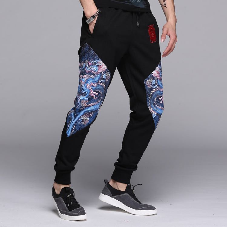 Men harem Hip Hop Trousers Spring Autumn Slim mens Clothing Chinese Dragon Patchwork leisure Casual Mens