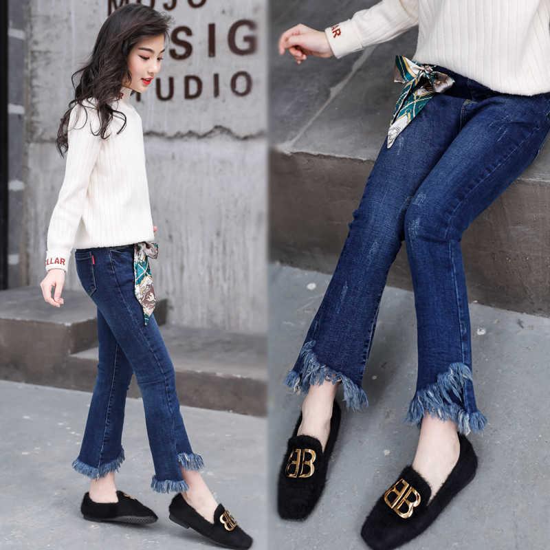 Çocuk kız kot pantolon 2019 sonbahar elastik bel boot cut pantolon büyük çocuklar rahat tayt bahar püskül desen elbise