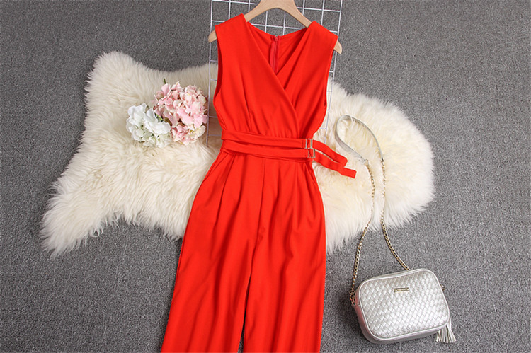 ALPHALMODA 2019 Spring Ladies Sleeveless Solid Jumpsuits V-neck High Waist Sashes Women Casual Wide Leg Rompers 83