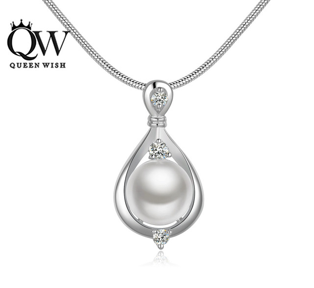 Aliexpress buy queenwish pearl necklaces water drop shape queenwish pearl necklaces water drop shape silver plated pendants for women engagement necklace fashion jewelry mozeypictures Images