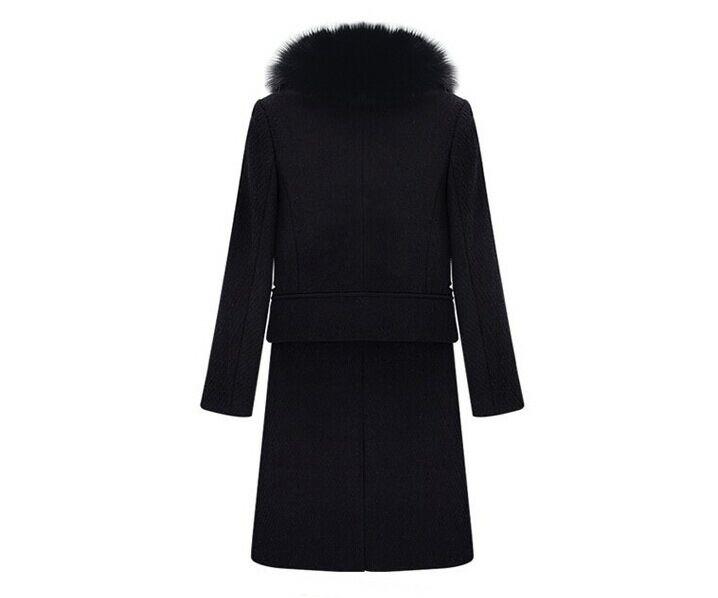 Hiver Robe Drap Femmes Laine Femme Fourrure D'hiver Fausse En Marque Blake Longue Noir Manteau De Wt02 Col qfAvExvw