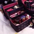 Mulheres Cosméticos Sacos & Casos Caixa de Maquiagem de Couro PU Sólido de Alta Qualidade Com Diamante 3 camada Profissional Bolsa de Maquiagem Cosméticos caso