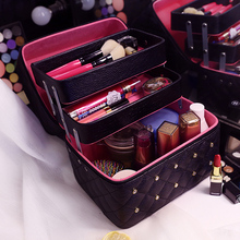 Women Cosmetic Bags&Case High Quality Solid PU Leather Makeup Box With Diamond 3 layer Professional Makeup Bag Cosmetic Case