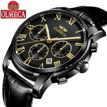 OLMECA Fashion Men's Watch relogio masculino Watch Chronograph Black Leather Watch for men Luxury Quartz Watches pacific angel shark sport watch luxury calendar quartz men male watches fashion red black leather band relogio masculino sh094