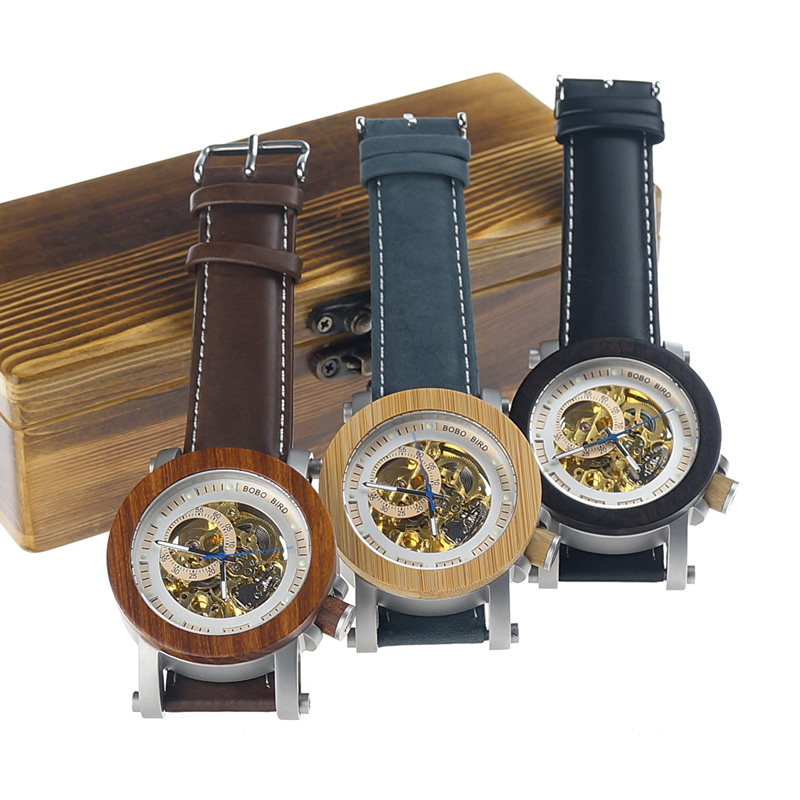 BOBO BIRD Mens Wooden Watch Mechanical Watch Mens Top Luxury Brand with Real Leather Strap in