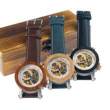 בובו ציפור Mens עץ שעון מכאני שעונים Mens למעלה מותג יוקרה עם עור אמיתי רצועת ב אריזת מתנה Relojes hombre