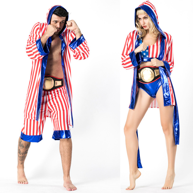 Boxer Costume for Man Womens Couple Rocky Balboa Apollo Movie Boxing  American Flag Cosplay Shorts Robe Boxing Costume Robe Short 5344aa0f3