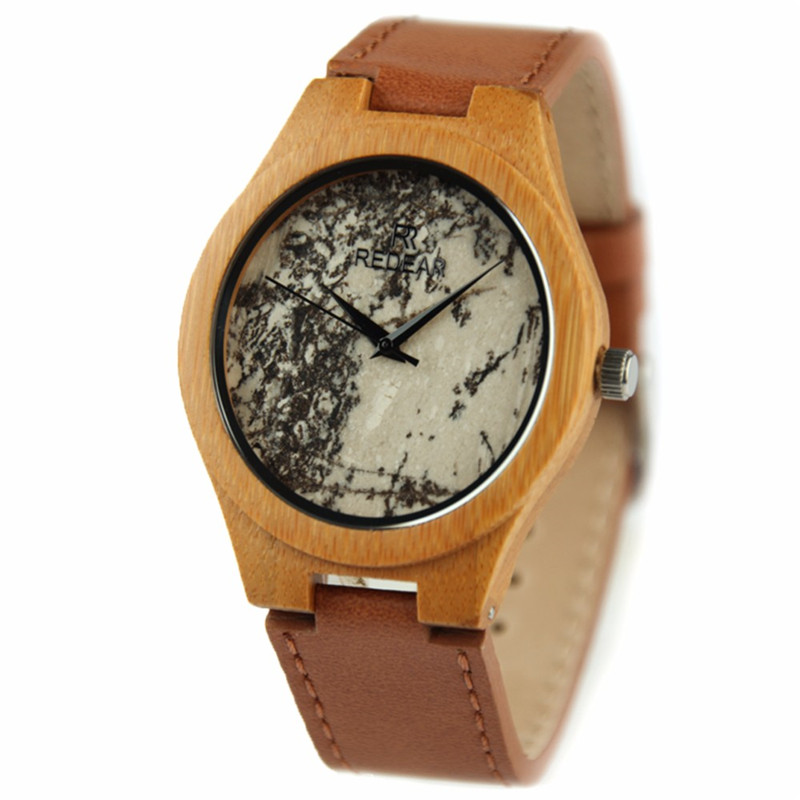 REDEAR Bamboo Wooden Men Watches Stone Surface Wristwatch Genuine Leather watch strap relojes hombre 2017 Male clocks Watch Box