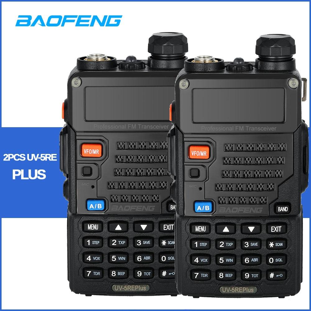 2pcs lot UV 5RE Plus Talkie Walkie BaoFeng 128CH Dual Band VHF 136 174MHz UHF 400