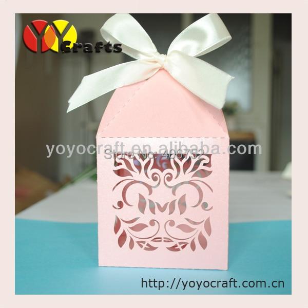 WB66 Flower Pink Wedding Favour Box Wedding Cake Boxes Wholesale