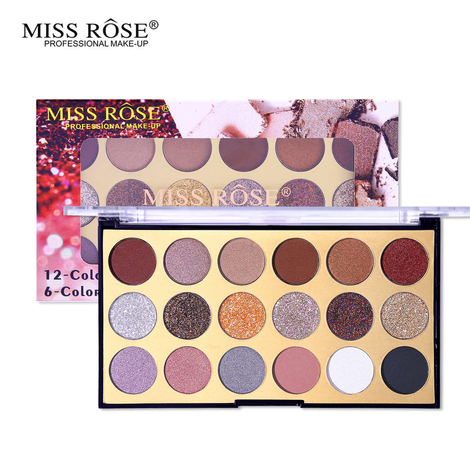MISS ROSE 18 Kleuren Shimmer Matte Oogschaduw Glitter Pressed Powder Oogschaduw Make-Up Palet Metallic Glans Waterdichte Oogleden