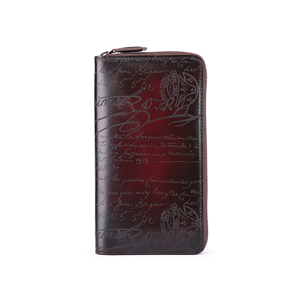 TERSE Luxury engraving long font b wallet b font font b mens b font handmade leather