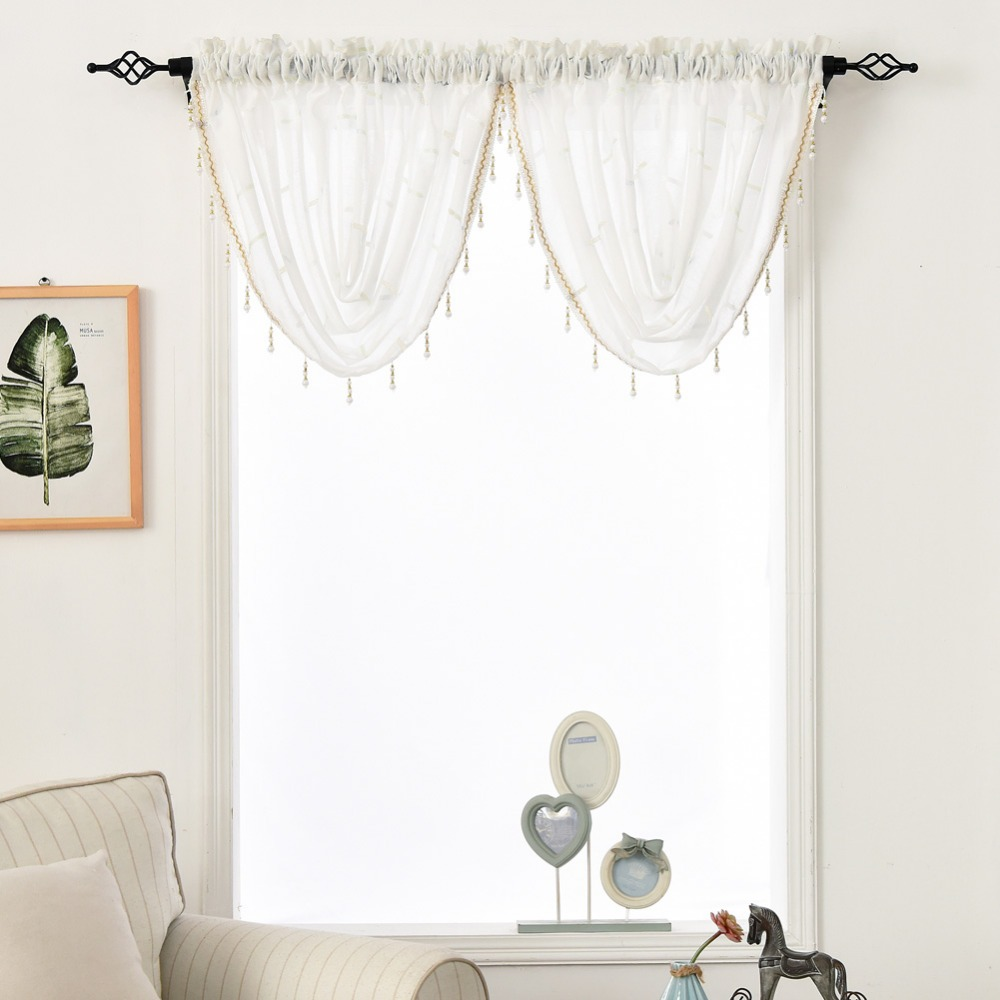 Modern Living Room Valances Us 12 05 49 Off Napearl Decorative Beaded Valance Rod Pocket Window Curtains Ready Made Drapery For Living Room Modern Door Panel Pelmet Bedroom In