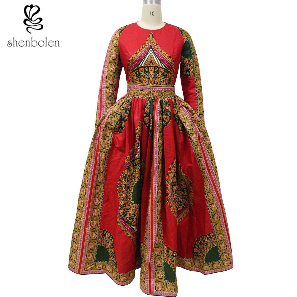 Shenbolen 2018 African Dashiki Dress Classical Maxi Dress -7615
