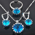 Classic Blue Created Topaz Zircon Women's Silver Jewelry Sets Earrings/Pendant/Necklace/Rings Free Shipping QZ002