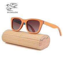luxury retro fashion glasses women luxe sunglasses men polarized classic popular  skateboard wooden Orange UV400
