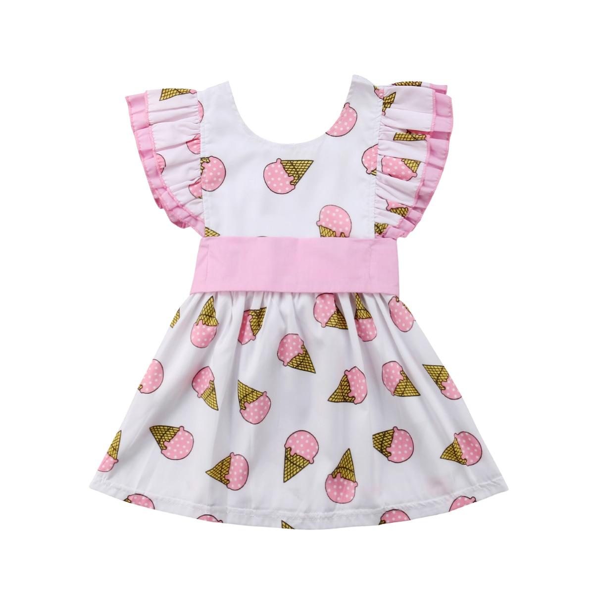 Newly Toddler Baby Girls Summer Sweet Lovely Dress Ruffles Petal Sleeve Ice Cream Print Bow Pink A-Line Knee-Length Dress