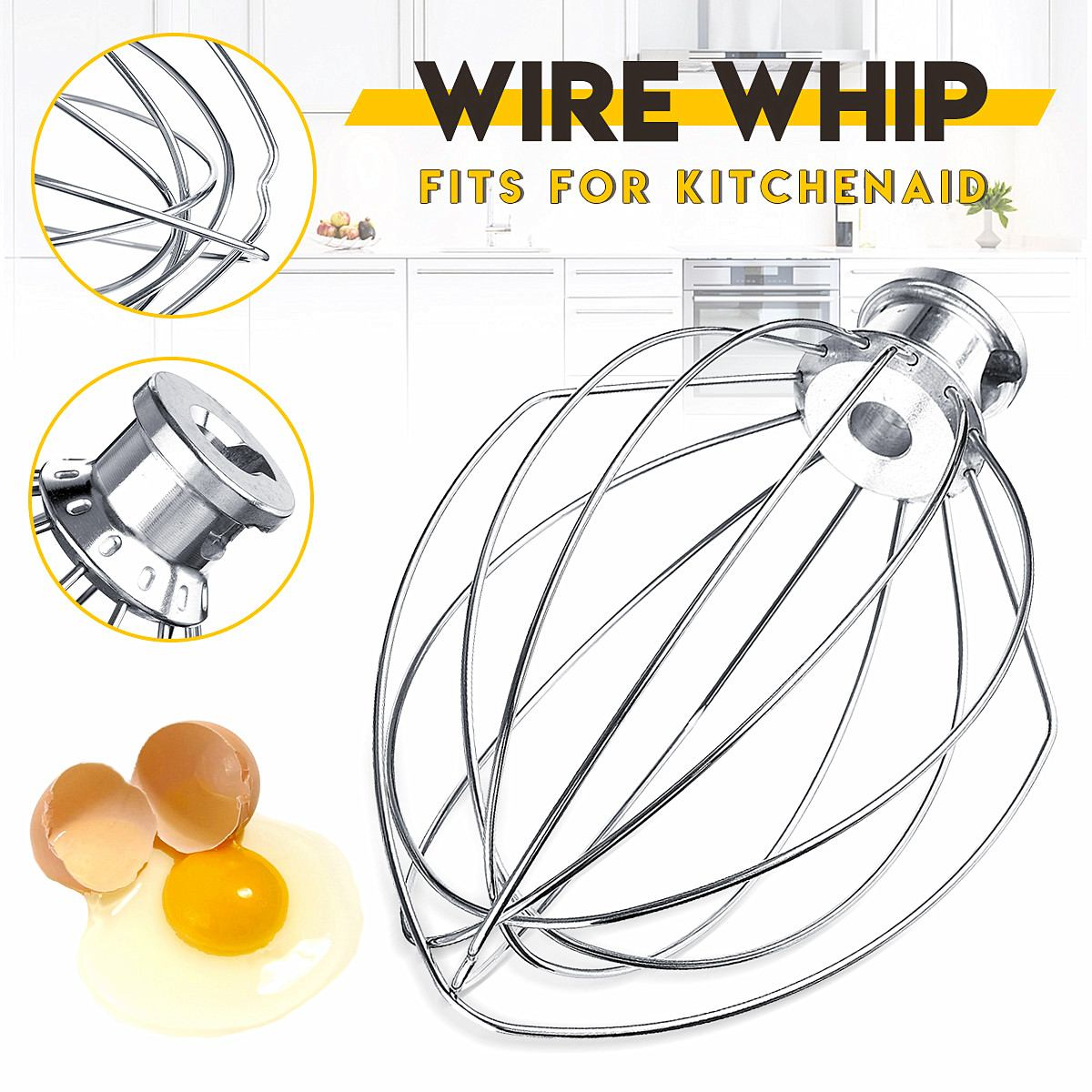 6 Wire Whip Whisk Egg Beater Cream Mixer Stainless steel Attachment For K5AWW Stand Mixers Milkshake 6-Wire Whip Whisk Egg Beater Cream Mixer Stainless steel Attachment For K5AWW Stand Mixers Milkshake Noodle Maker