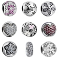 Springtime Mixed Enamels & Clear CZ 925 Sterling Silver European Bead Charms Fit for Pandora Charms Bracelet Silver 925 Original