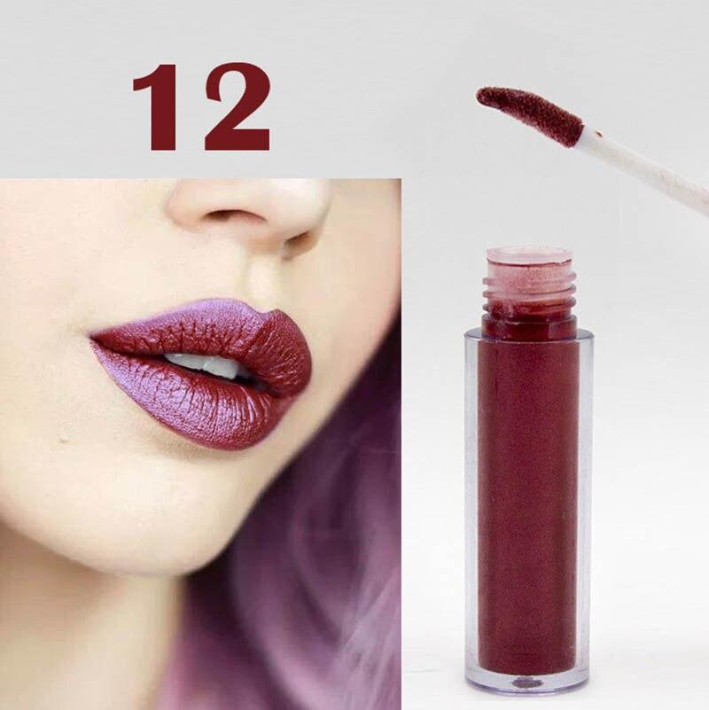 Women Fashion Glitter Lipstick Diamond Shine Lips Makeup Metallic Matte Lip Stick Lasting Waterproof Lipsticks 14