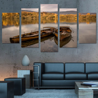 High Quality wall art canvas painting 5 piece HD Printed lake floating boat yellow forest sunset wall posters and prints