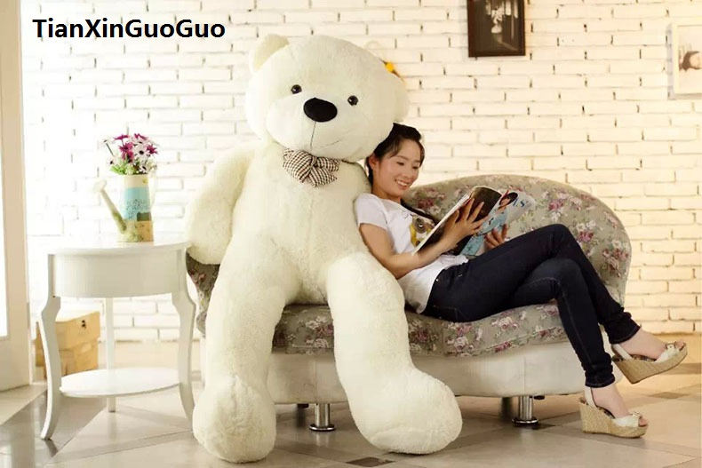 fillings plush toy huge 180cm white teddy bear bowtie bear soft doll hugging pillow birthday gift h1311 lovely giant panda about 70cm plush toy t shirt dress panda doll soft throw pillow christmas birthday gift x023