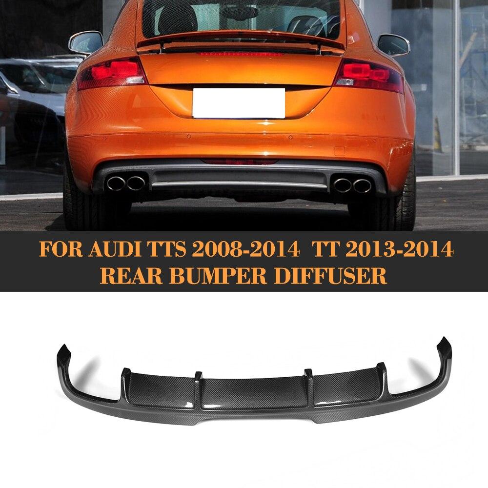 Углеродного волокна авто задний бампер диффузор для губ для Audi TTS бампера 2008 2014 TT 2013 2014