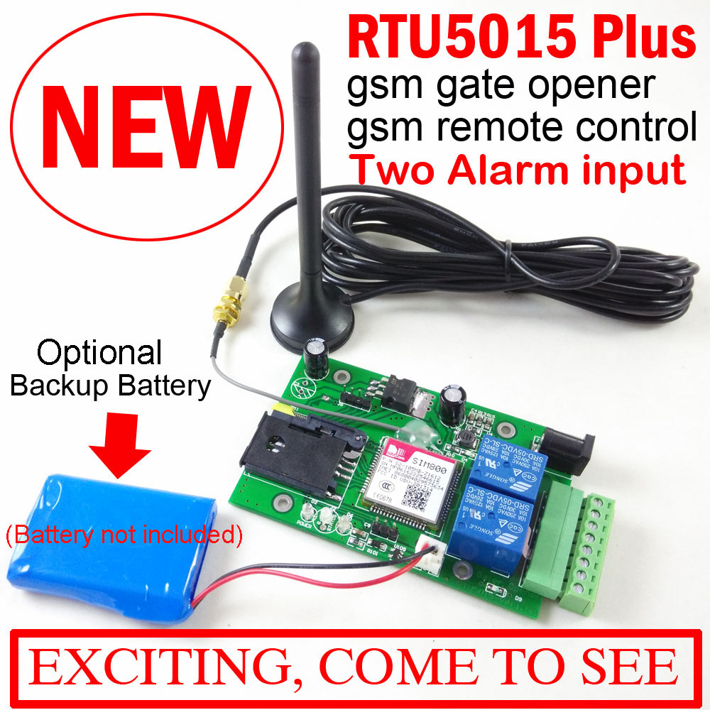 RTU5015 Plus GSM Remote board with two alarm input and one relay output and SMS control Optional Battery for power off alarm water tank level monitor control and alarm sms system rtu