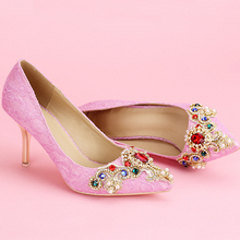 Spring Fashion Formal Shoes Pink Pointed Toe Stilettos Crystal Popular Wedding Shoes Women Single Party Elegant Pumps