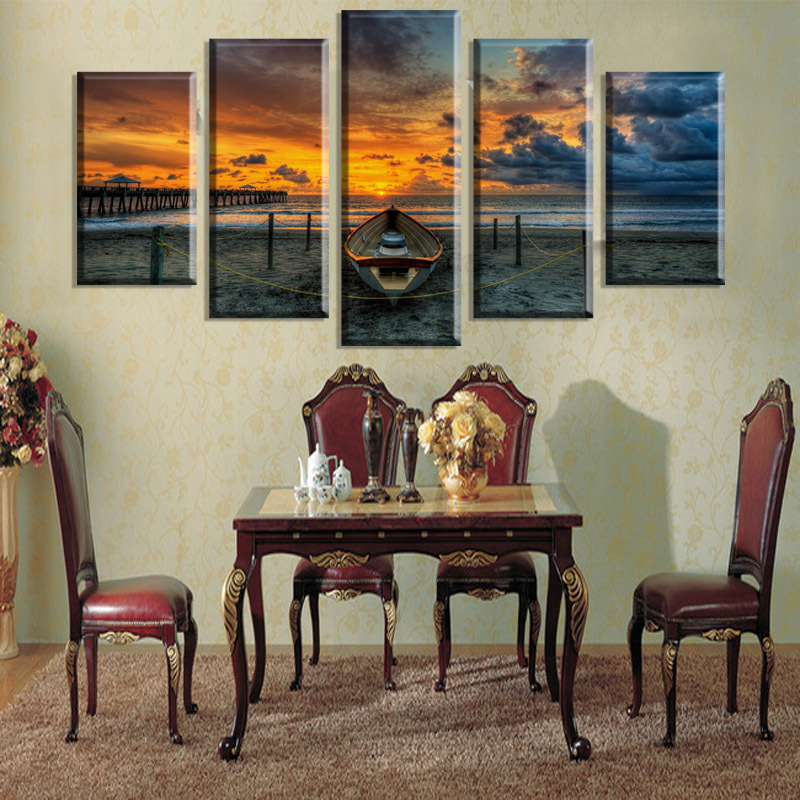 5 kusů Hot Sell Seascape and Boat Modern Home Wall Decor Canvas picture Art HD Print Painting Set of 5 Every, Canvas arts