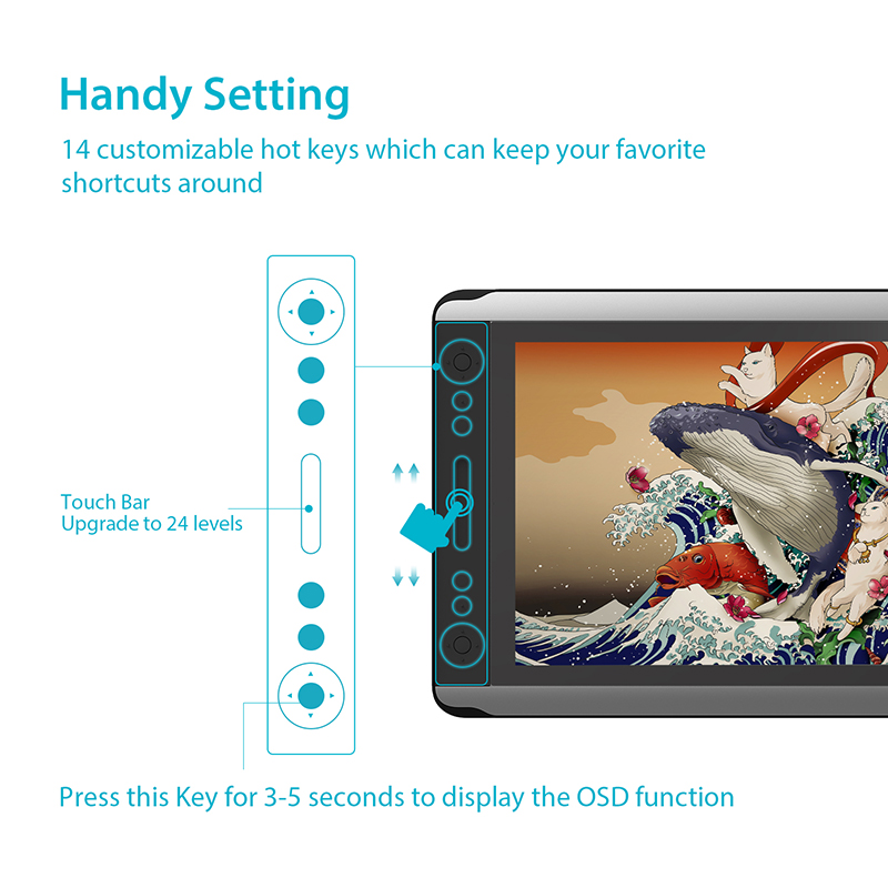 HUION KAMVAS GT-156HD V2 stylo moniteur d'affichage 15.6 pouces graphique numérique dessin tablette moniteur avec 8192 niveaux et cadeaux gratuits - 2
