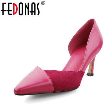 FEDONAS Women's Shoes 2020 Brand OL High-heeled Pumps Sexy Patchwork Wedding Party Shoes Woman Pointed Toe Pumps New Autumn Shoe