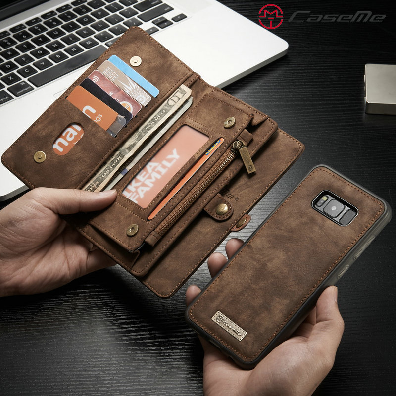 CaseMe Phone Case For Samsung Galaxy S8 S8 Plus Genuine Leather Zipper Multifunction Wallet 2 In1 Design Phone Full Cover Case