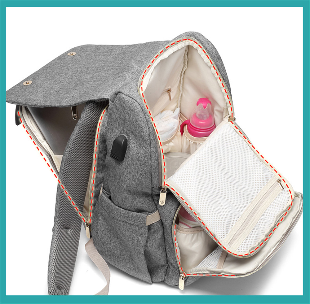 HTB1LTslM6DpK1RjSZFrq6y78VXa3 Fashion Large Capacity Baby Nappy Bag Diaper Bag Purse Multifunction USB Mummy Travel Backpack Women Nursing Bags For Mom Daddy