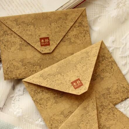 10Pcs/lot 155*111mm Vintage DIY Kraft Envelope Postcards Brown Kraft Envelopes Fancy Envelopes Kawaii Gift Party Supplies