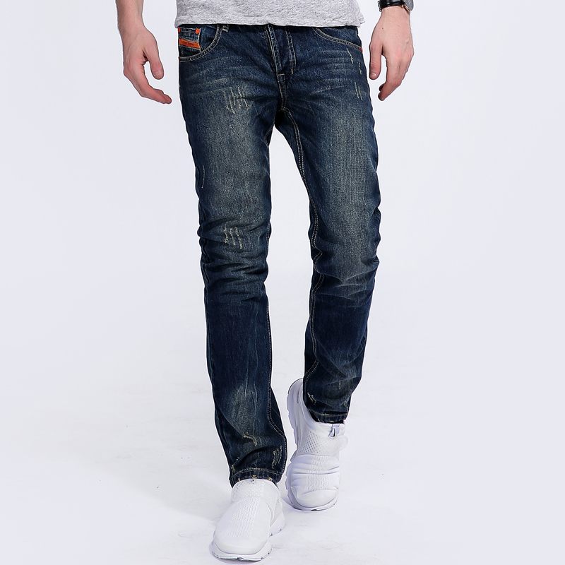 Vintage Orange Button Jeans For Men Slim Straight Denim Jeans Ripped Trousers Blue Print Brand Dsel Jeans Plus Size Pants B25 patch jeans ripped trousers male slim straight denim blue jeans men high quality famous brand men s jeans dsel plus size 5704