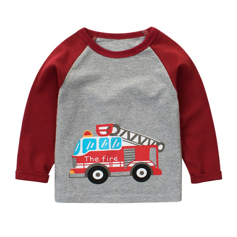 Autumn Baby Boys Girls T shirt Children Clothing 2017 Long Sleeve Multicolor Car Print Hoody Kids T-shirts for Boy Sweatshirt