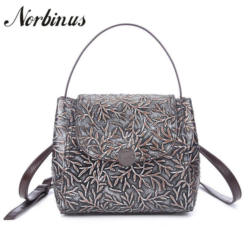 все цены на Norbinus Fashion Women Genuine Leather Handbag Floral Ladies Messenger Shoulder Crossbody Bag Embossed Small Tote Top Handle Bag