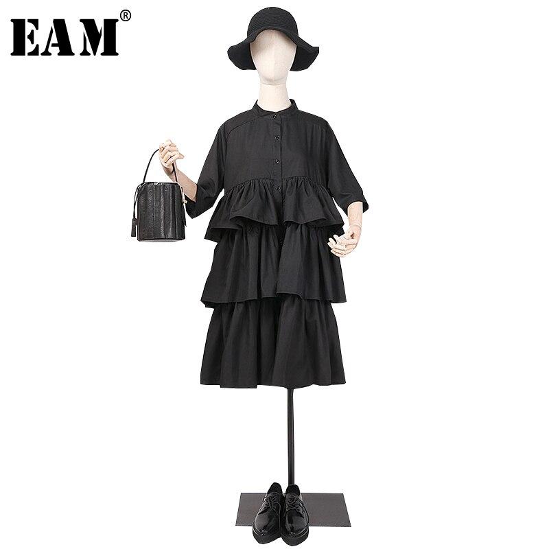 [EAM] 2019 nouveau printemps été revers à manches longues noir volants Split Joint lâche grande taille chemise gâteau robe femmes mode JR041