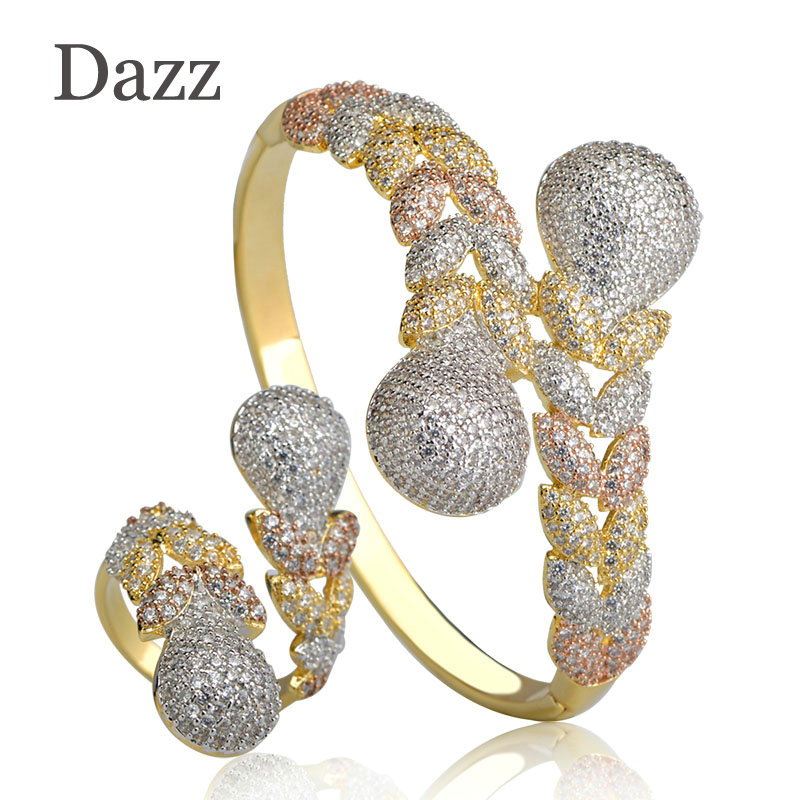 Dazz Luxury Rhinestones Wedding Zircons Jewelry Sets Three Tones Color Copper Braid Shape Ring Bangle Set For Women Party Bijoux