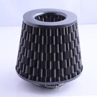 Gray Universal Chrome Finish Car Air Filter Induction Kit High Power Sports Mesh Cone Chrome Finish