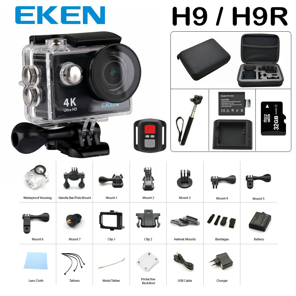 New Arrival Bundle Action Camera 100% Original Eken H9-H9R Ultra HD 4K 30M sport 2.0' Screen 1080p F