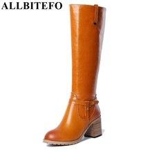 ALLBITEFO brand fashion women motorcycle boots Genuine leather round toe thick heels platform buckle warm women knee high boots